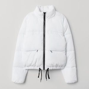 Cropped white puffer jacket with black details